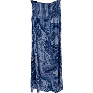 Michael Kors blue marbled smocked top maxi dress S